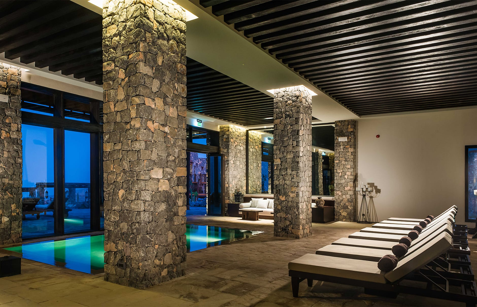 Indoor pool. Alila Jabal Akhdar, Nizwa, Oman. © Alila Hotels and Resorts