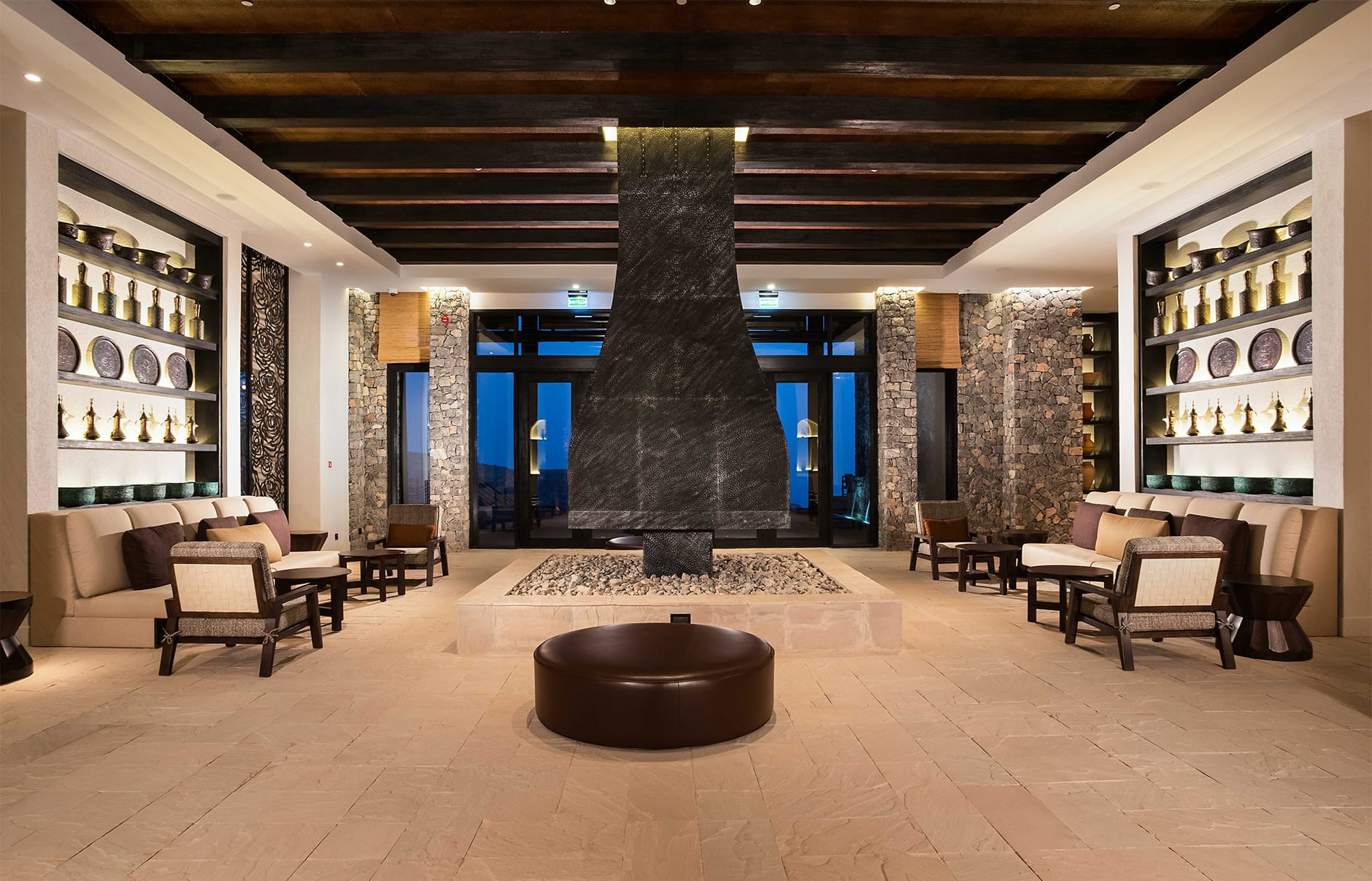 Lobby. Alila Jabal Akhdar, Nizwa, Oman. © Alila Hotels and Resorts