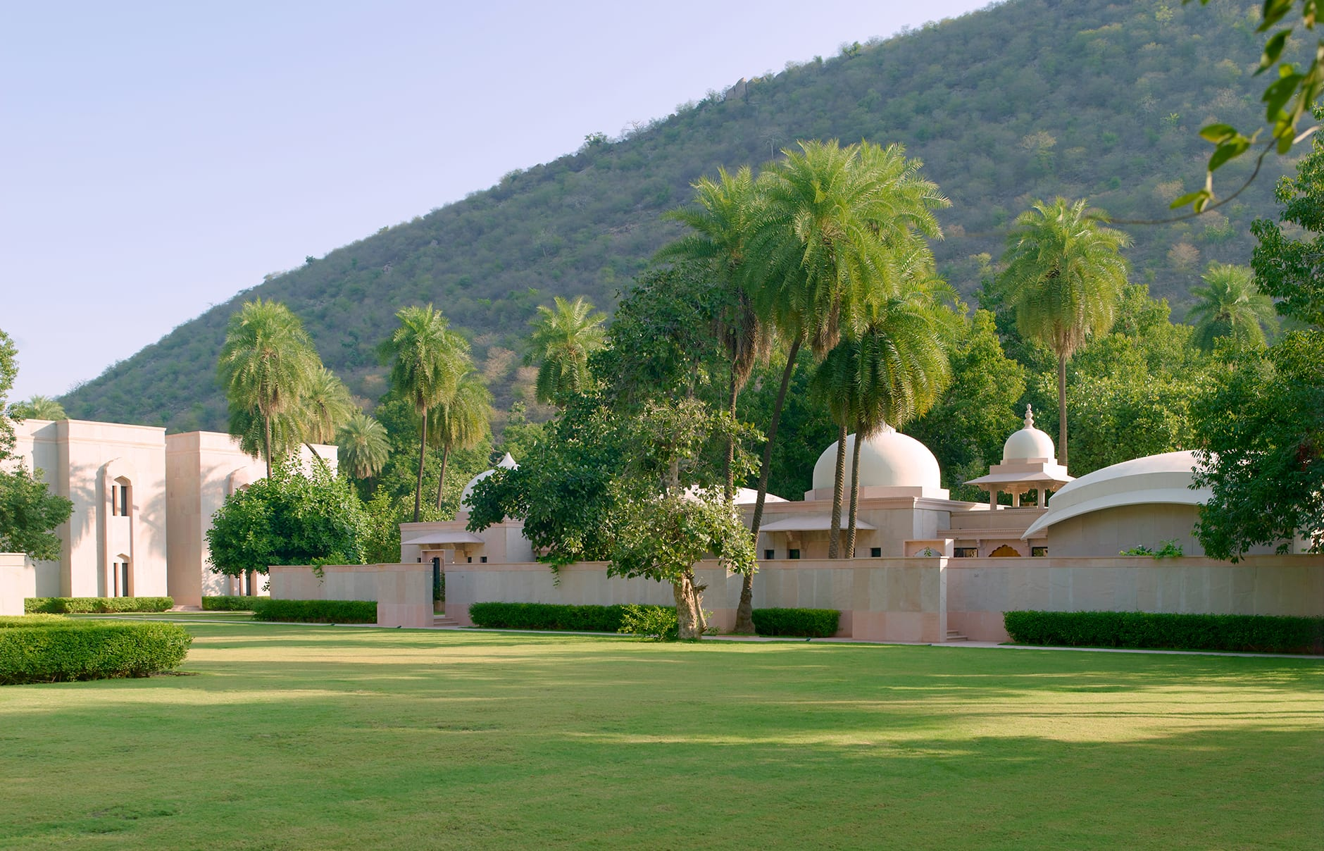 Pool Pavilion Exterior. Amanbagh, Alwar, Rajasthan, India. Luxury Hotel Review by TravelPlusStyle. Photo © Aman Resorts