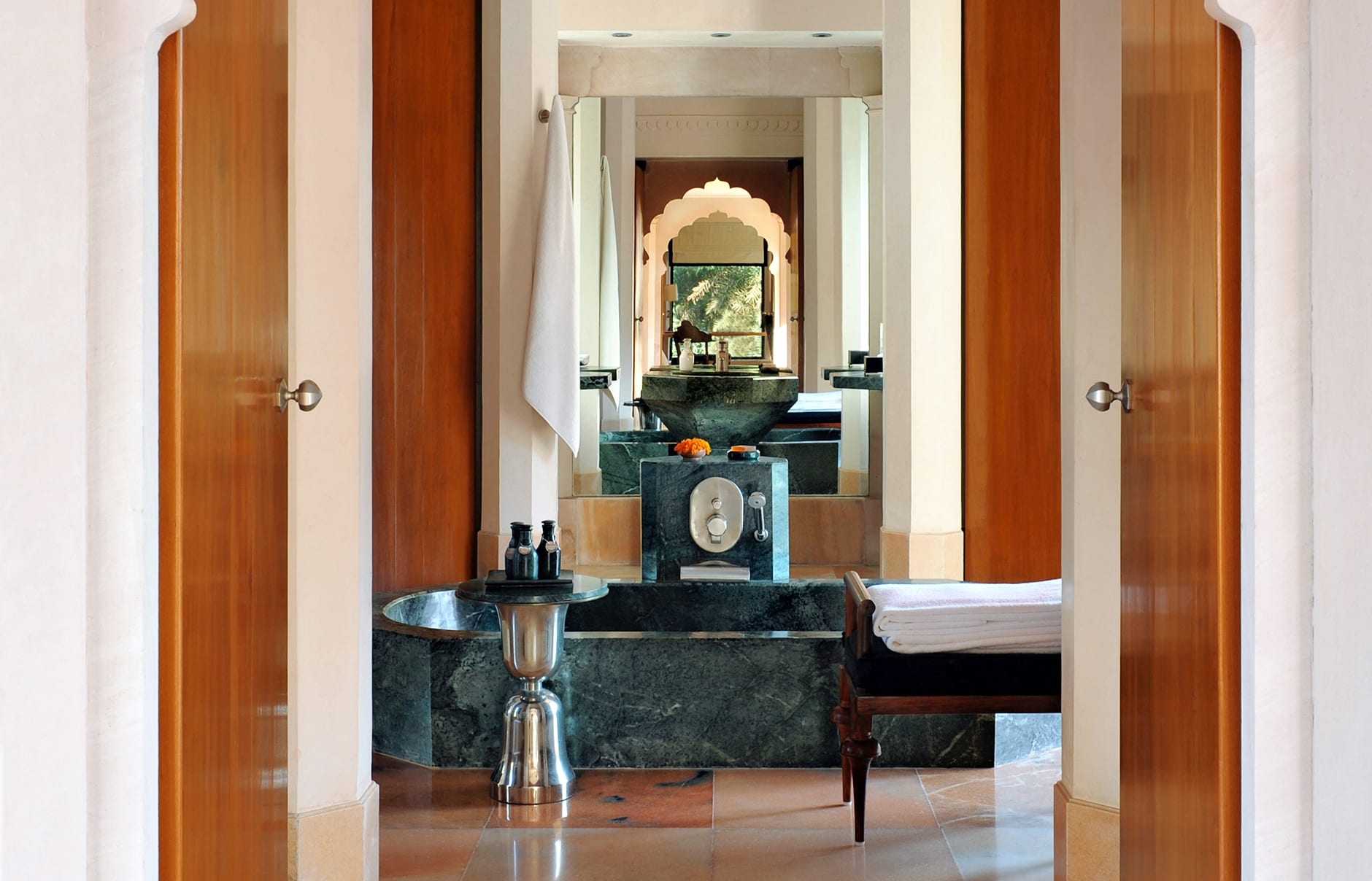 Pool Pavilion Bathroom. Amanbagh, India. © Amanresorts