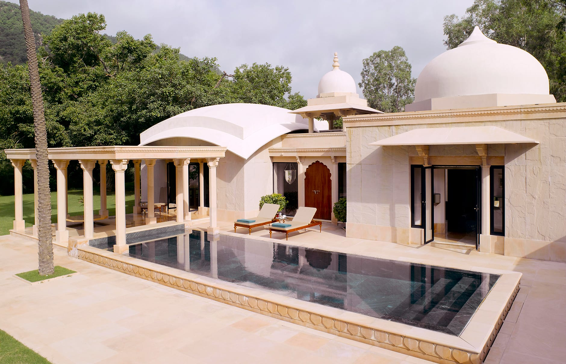 Pool Pavilion. Amanbagh, Alwar, Rajasthan, India. Luxury Hotel Review by TravelPlusStyle. Photo © Aman Resorts