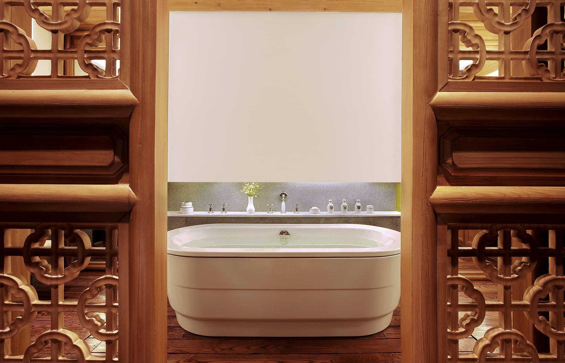 Amandayan - Deluxe Suite Bath. Amandayan, Lijiang, China. Luxury Hotel Review by TravelPlusStyle. Photo © Aman Resorts