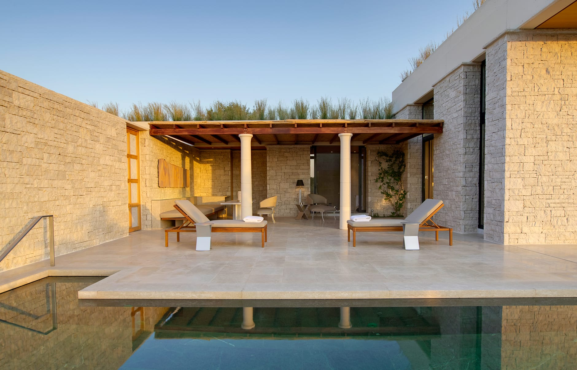 Amanzoe - Pool Pavilion Terrace. © Amanresorts