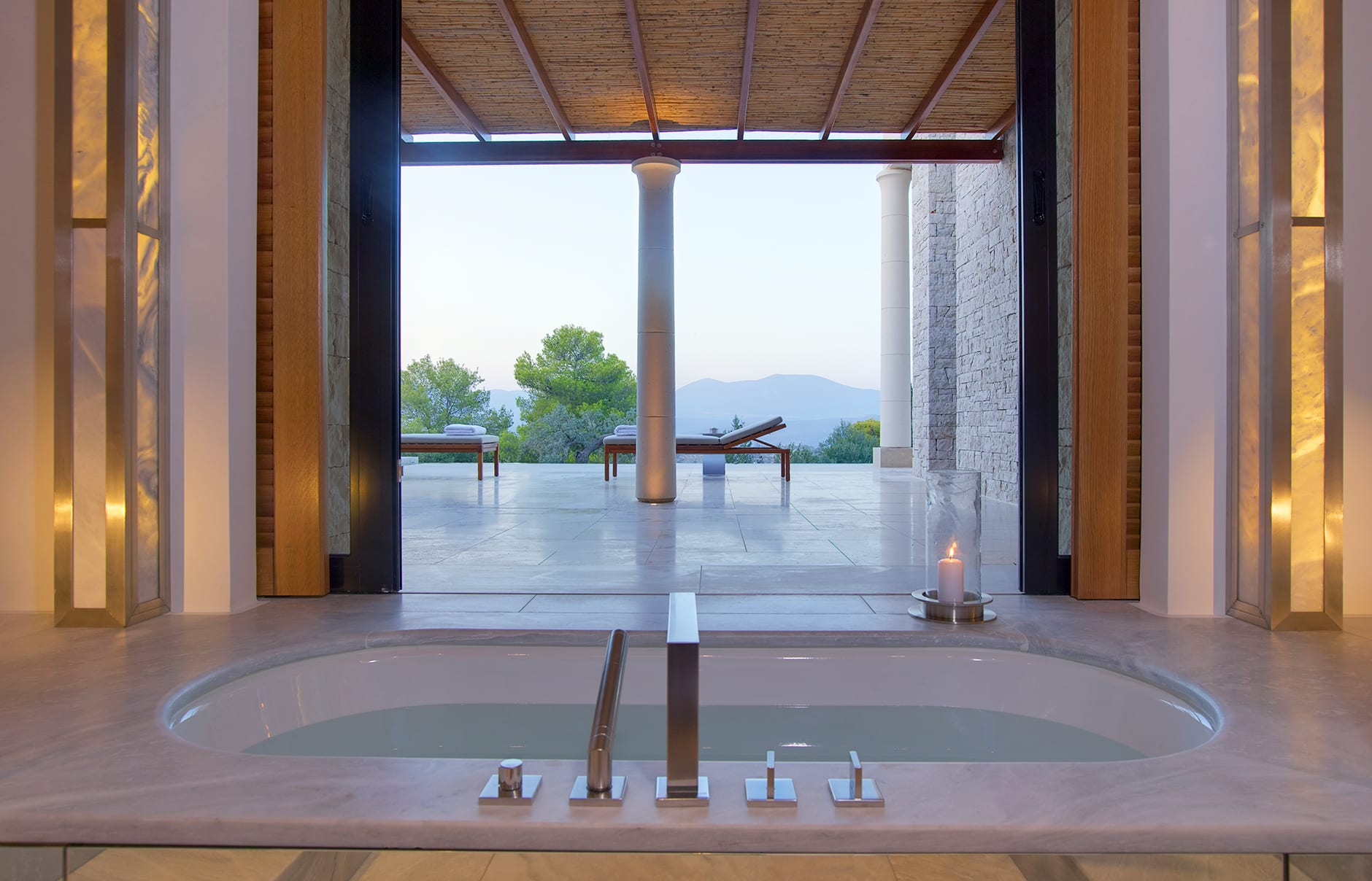 Amanzoe - Pavilion Bathroom. © Amanresorts