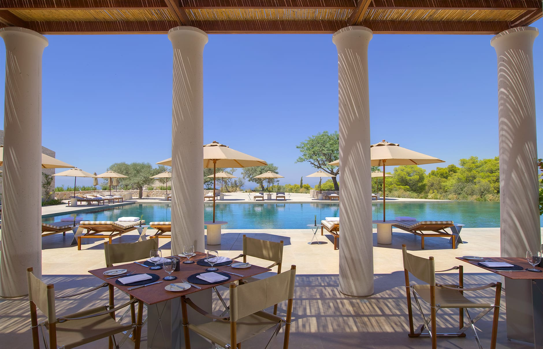 Amanzoe -  Pool Restaurant. © Amanresorts