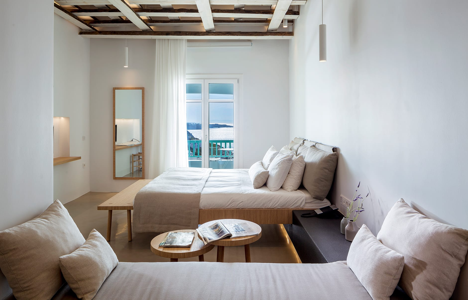 Bachelor Suite. Bill & Coo Mykonos, Greece. Hotel Review by TravelPlusStyle. Photo © Bill & Coo Mykonos