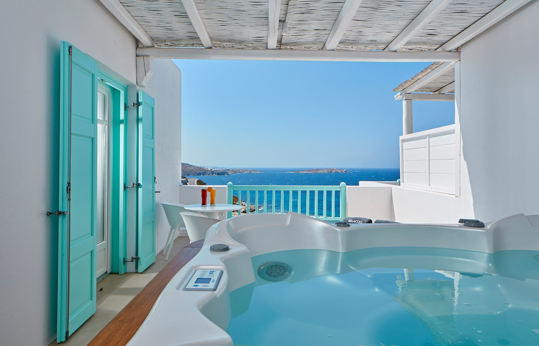 Executive Suite. Bill & Coo Mykonos, Greece. Hotel Review by TravelPlusStyle. Photo © Bill & Coo Mykonos