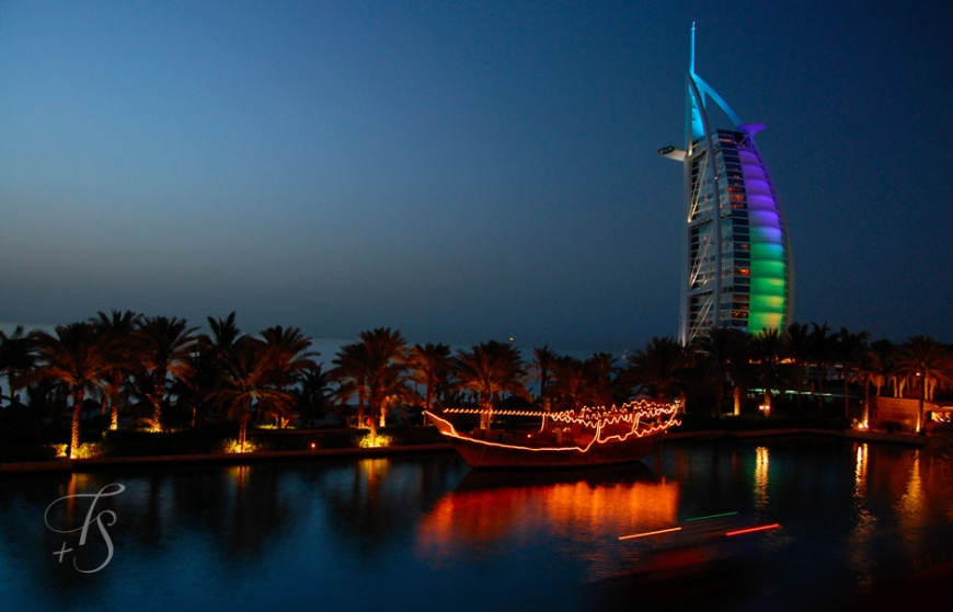 The iconic Burj-Al-Arab at Night © Travel+Style
