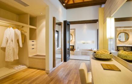 Water Villa, dressing room. TravelPlusStyle.com