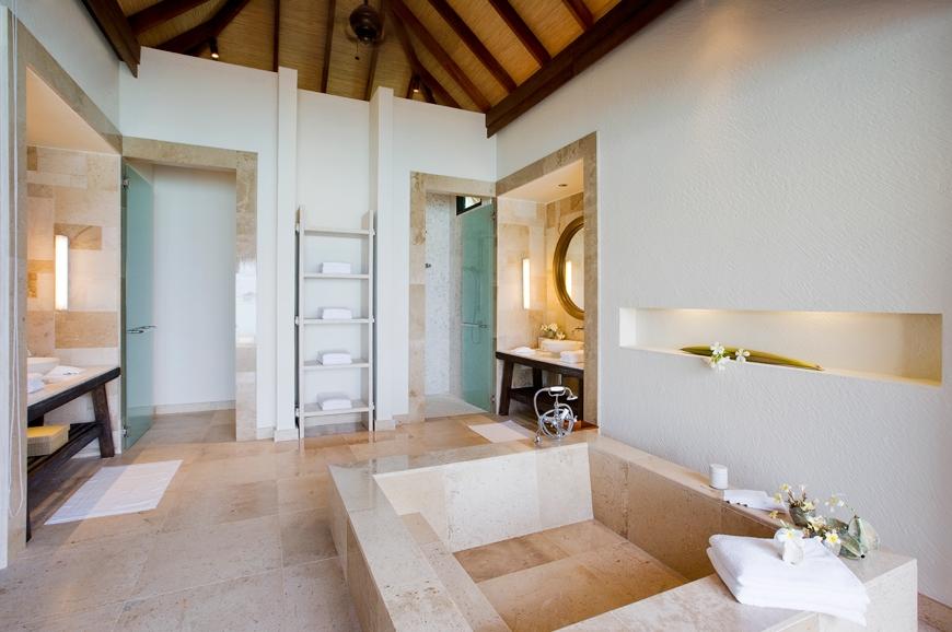 Water Villa Bathroom. TravelPlusStyle.com