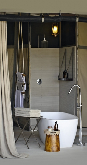 Bathroom. Chinzombo Camp, Zambia. travelplusstyle.com