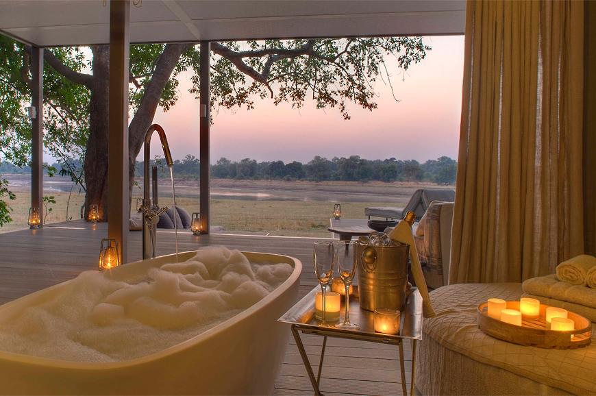 Bath time. Chinzombo Camp, Zambia. travelplusstyle.com