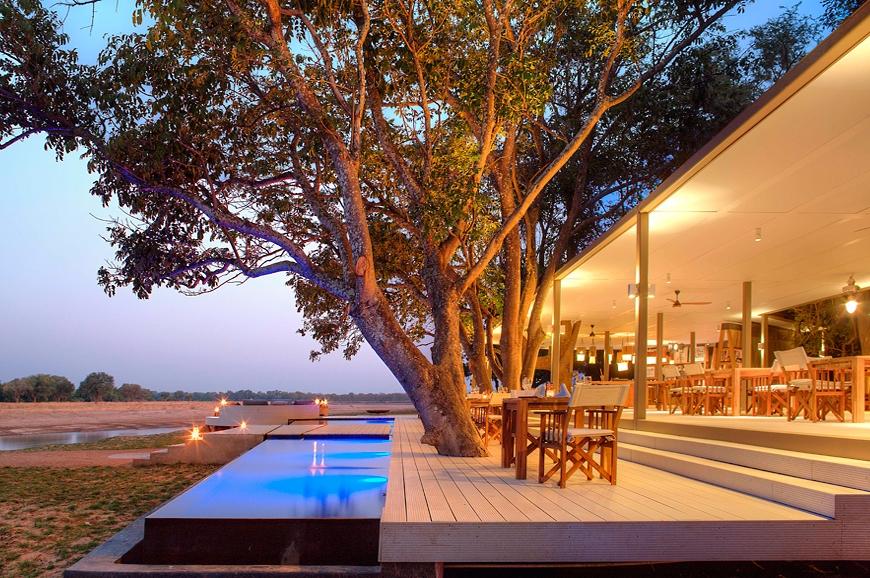 Dining area. Chinzombo Camp, Zambia. travelplusstyle.com