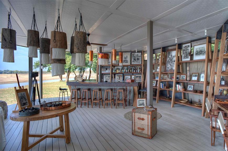 Bar. Chinzombo Camp, Zambia. travelplusstyle.com
