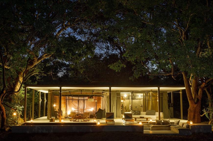 Villa at night. Chinzombo Camp, Zambia. travelplusstyle.com