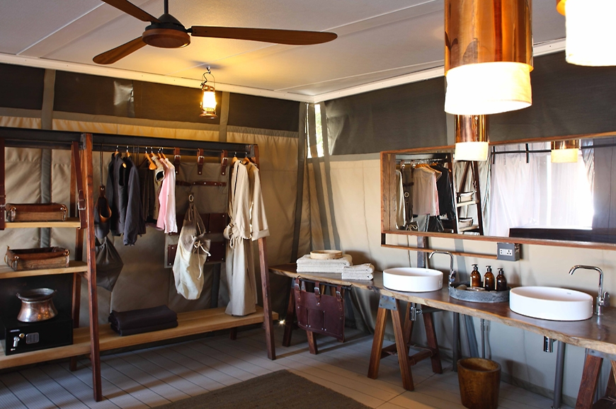 Changing area. Chinzombo Camp, Zambia. travelplusstyle.com