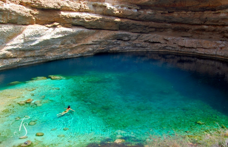 Bimmah Sinkhole, Oman. © Travel+Style