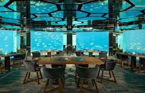 Sea, underwater restaurant. Anantara Kihavah Maldives Villas, Maldives. TravelPlusStyle. Photo © Anantara Hotels & Resorts