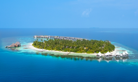 Aerial view. W Maldives, Fesdu Island, Maldives. Hotel Review by TravelPlusStyle. Photo © Marriott International