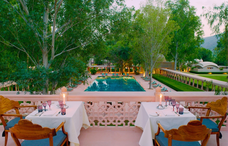 Roof Terrace Dining. Amanbagh, Alwar, Rajasthan, India. Luxury Hotel Review by TravelPlusStyle. Photo © Aman Resorts