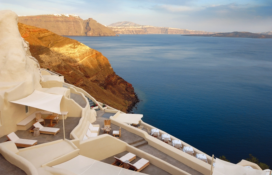Mystique, Santorini, Greece. Hotel Review by TravelPlusStyle. Photo © Marriott International