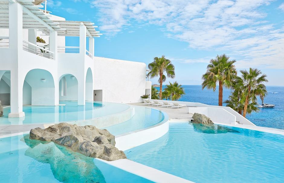 Top 15 Chic Luxury Hotels in Mykonos. Mykonos Blu. TravelPlusStyle.com