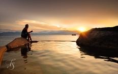 Sunset in Water Villa 3. Six Senses Ninh Van Bay, Vietnam © Travel+Style