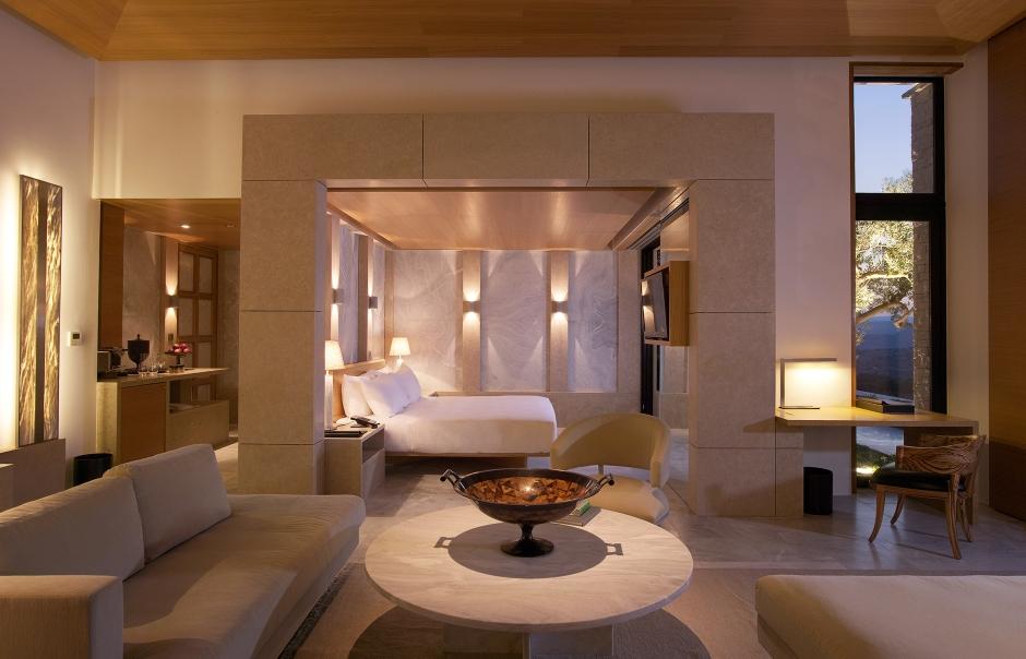 Amanzoe - Pool Pavilion Bedroom & Living Area. © Amanresorts