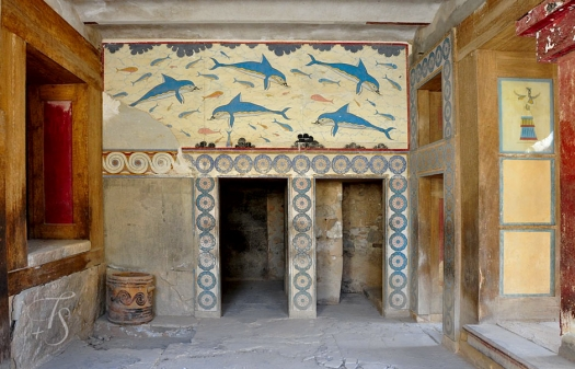 The dolphin mural in the Knossos palace. Crete, Greece. © Travel+Style