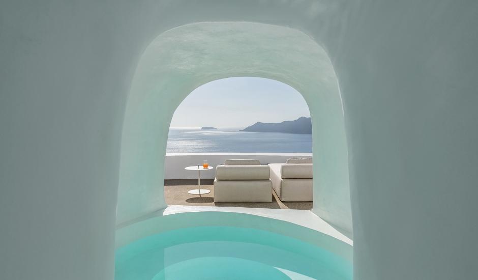 The Saint Hotel, Oia, Santorini, Greece. TravelPlusStyle.com