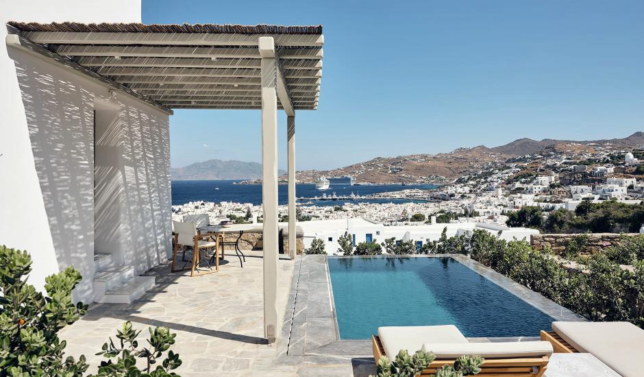 Belvedere Hotel Mykonos, Mykonos, Greece.  The Best Luxury Hotels In Mykonos. TravelPlusStyle.com