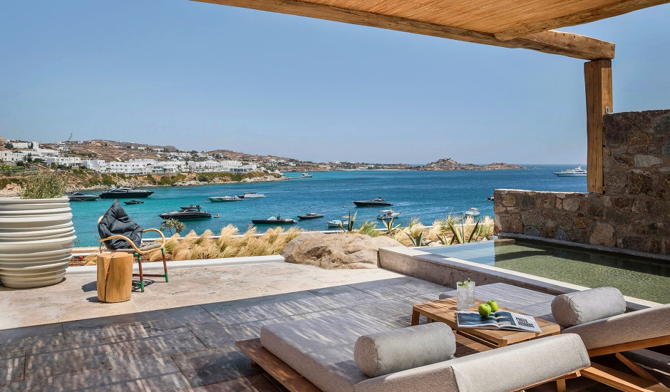 Kensho Psarou, Mykonos, Greece. The Best Luxury Hotels In Mykonos. TravelPlusStyle.com