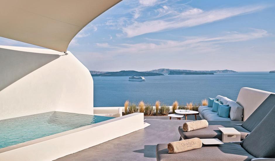 Canaves Oia Suites, Oia, Santorini, Greece. TravelPlusStyle.com