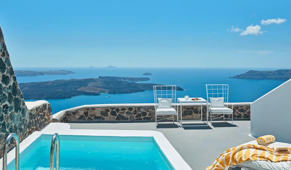 Katikies Chromata Santorini, Santorini, Greece. TravelPlusStyle.com