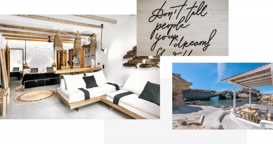 Aqua House, Milos, Greece. The ultimate guide to the best chic hotels in Milos, Greece by Travelplusstyle.com