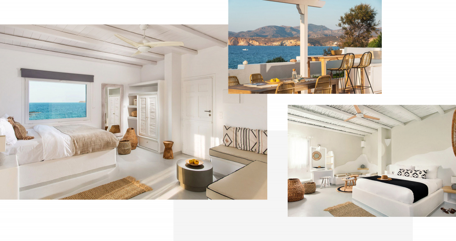 Perla Rooms, Milos, Greece. The ultimate guide to the best chic hotels in Milos, Greece by Travelplusstyle.com
