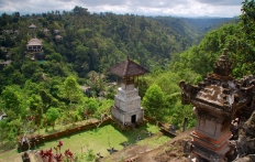 View towards the Ubud Hanging Gardens Hotel from Pura Penataran Dalem Segara temple. Photo © Travel+Style