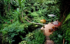 At the bottom of the gorge, Ubud Hanging Gardens Hotel. Photo © Travel+Style