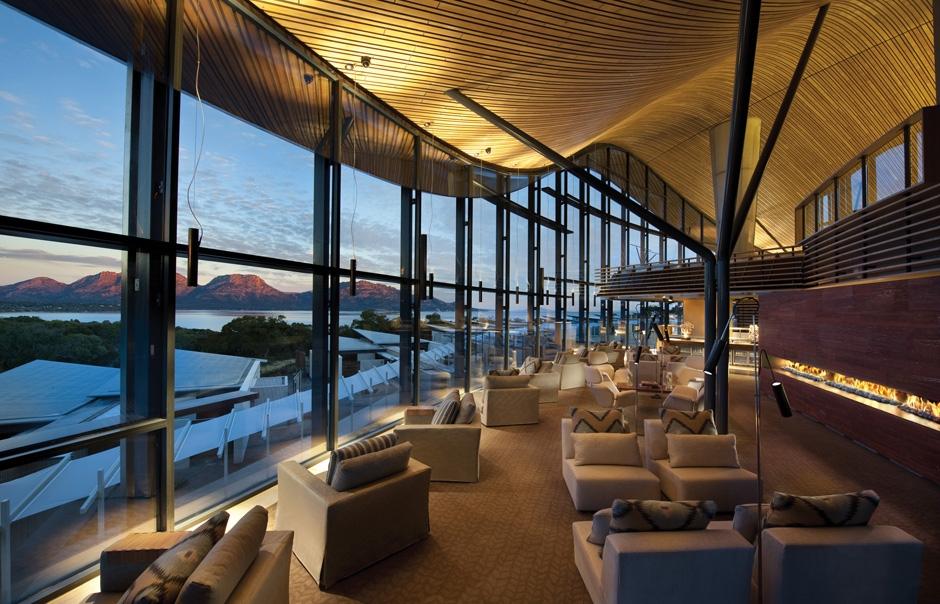 Lounge. Saffire Freycinet, Tasmania, Australia. © Saffire Freycinet