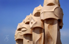 Chimneys on the rooftop of La Pedrera. © Travel+Style