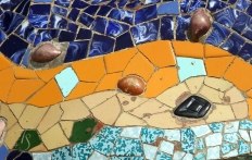 A mosaic in Parc Guell. © Travel+Style