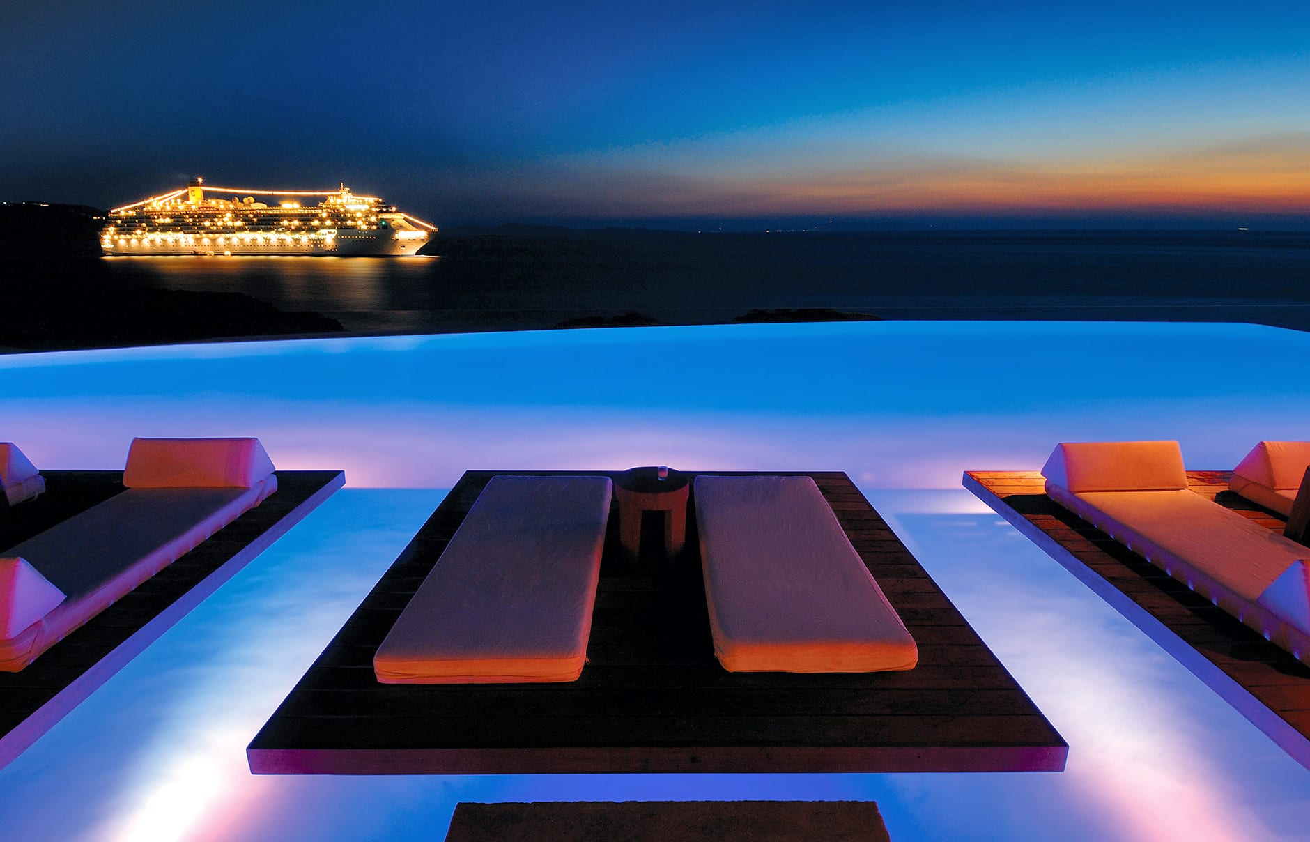 Pool at night. Cavo Tagoo Hotel. Mykonos, Greece. © Cavo Tagoo