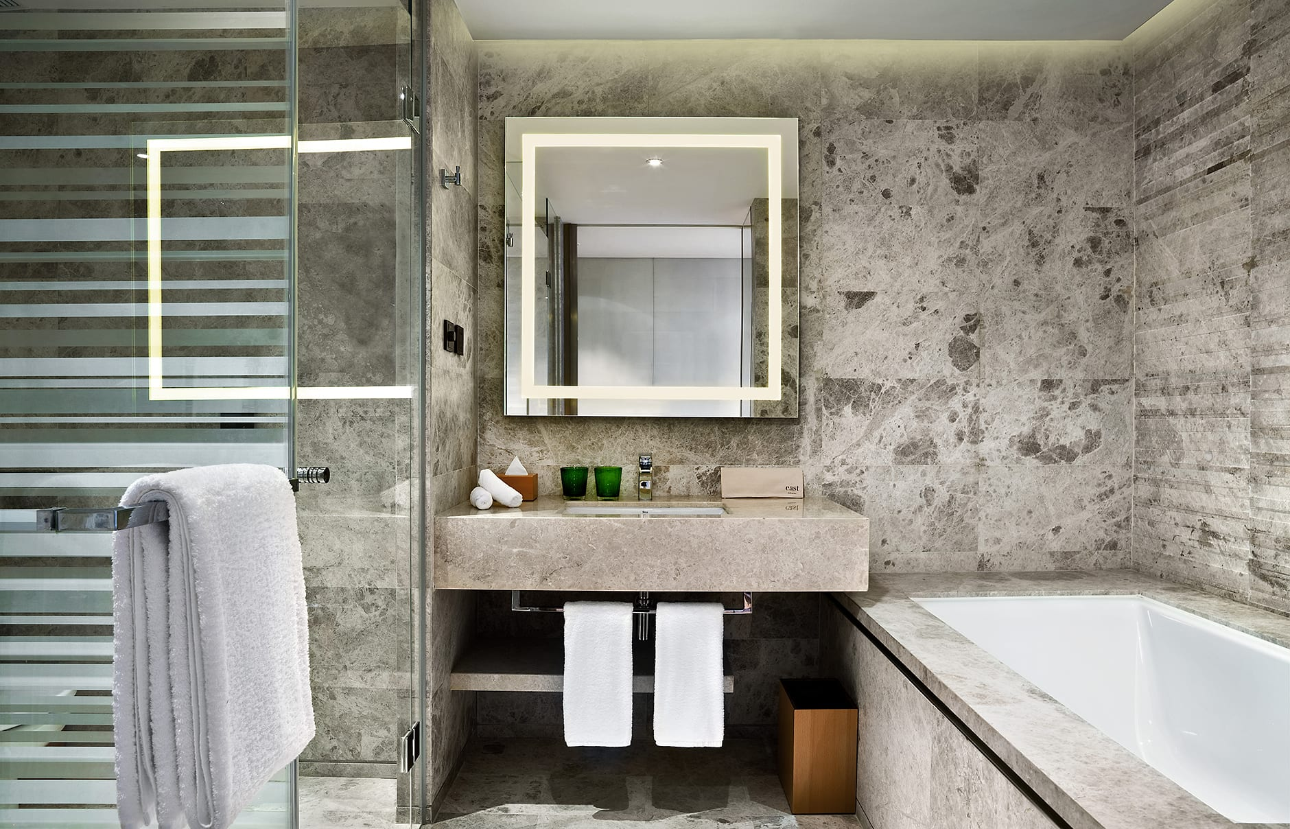 Bathroom. EAST Beijing, China. Hotel Review by TravelPlusStyle. Photo © Swire Hotels