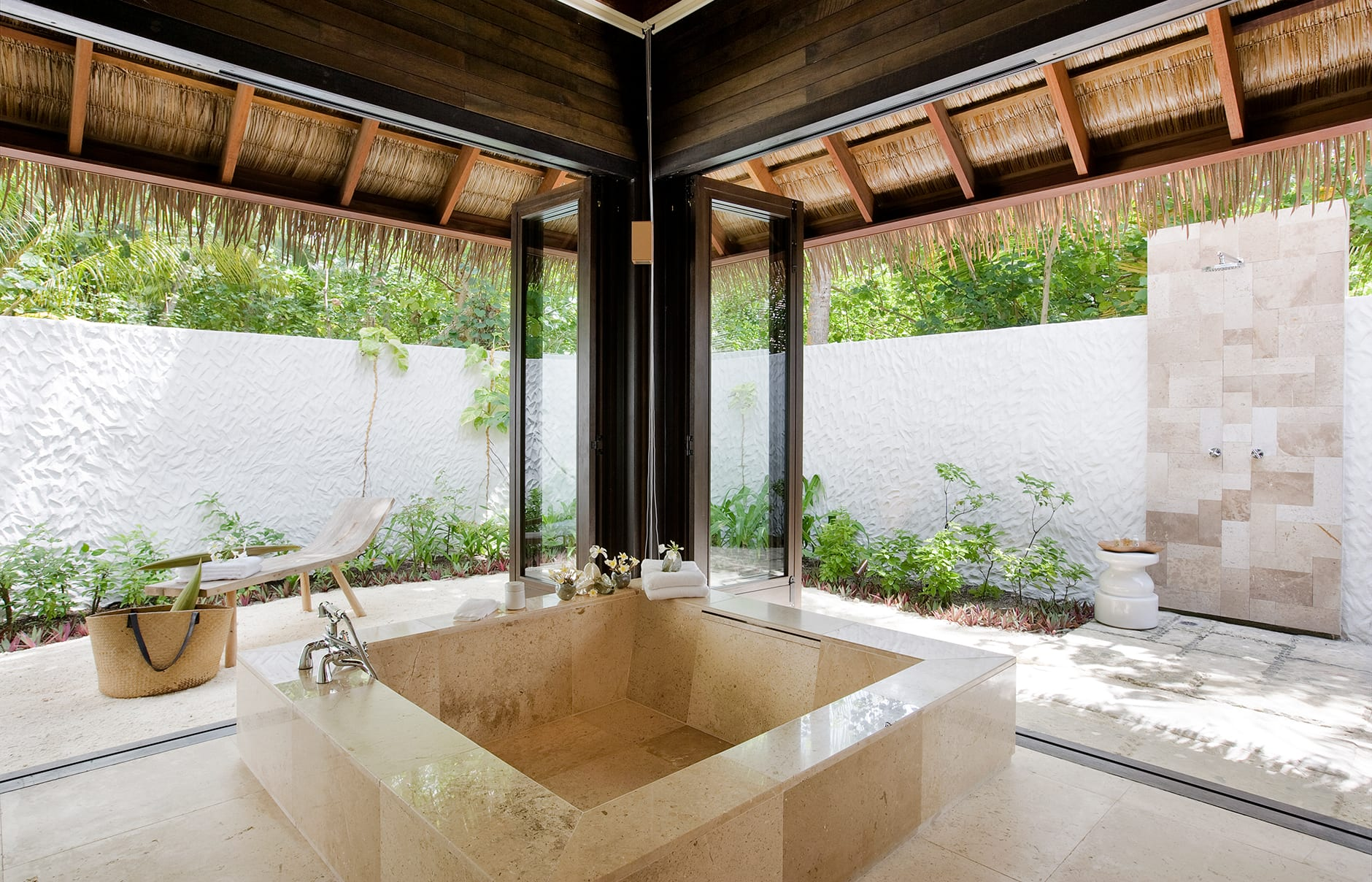 Garden Suite Bathroom. COMO Maalifushi, Maldives. Hotel Review by TravelPlusStyle. Photo © COMO Hotels & Resorts
