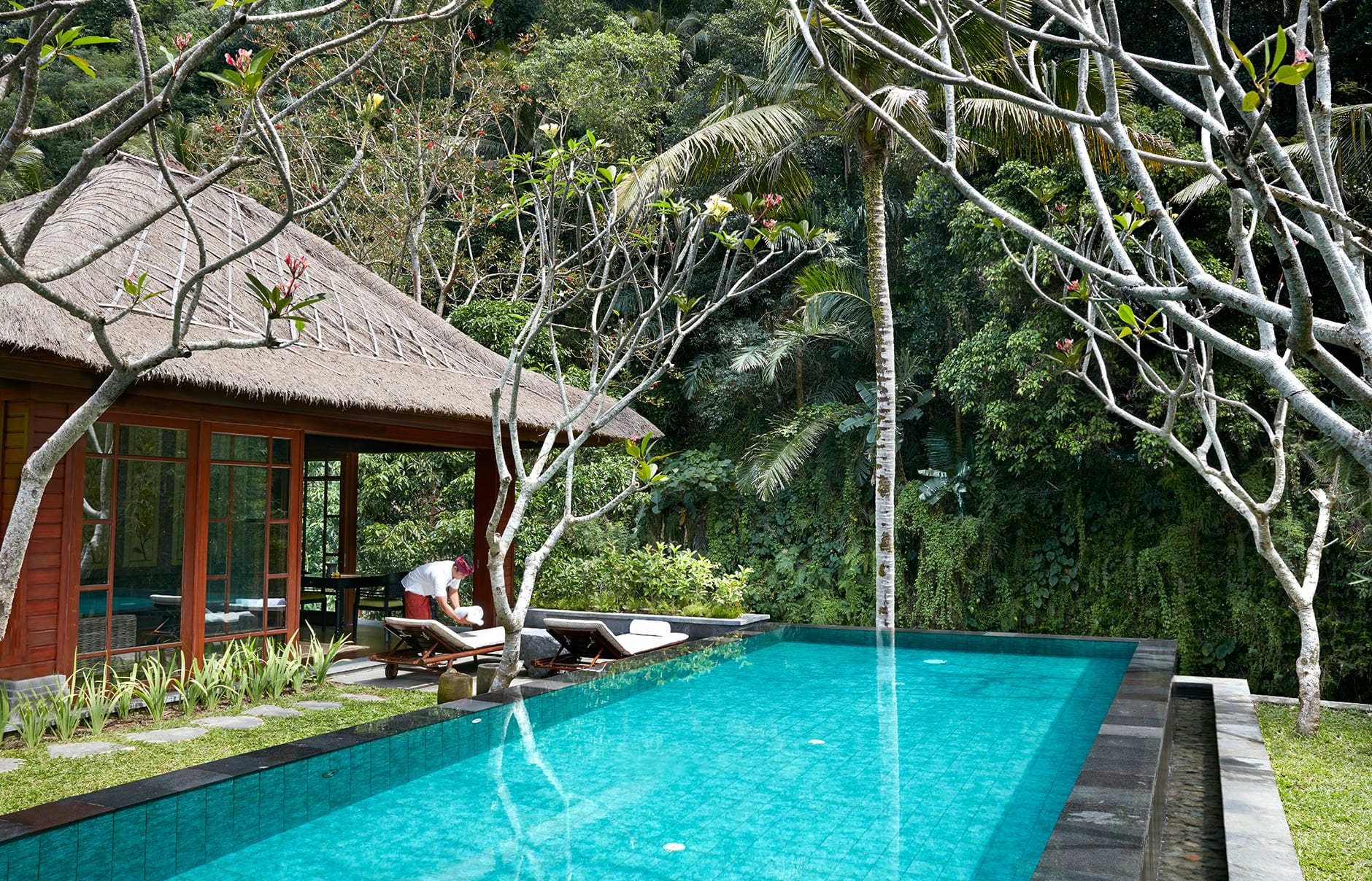 One Bedroom Riverfront Pool Villa –Swimming Pool. Mandapa, a Ritz-Carlton Reserve, Ubud, Indonesia. © The Ritz-Carlton Hotel Company