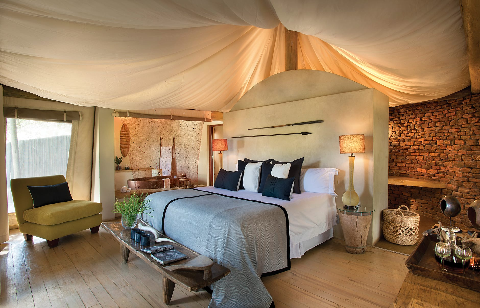 Bedroom interior. Marataba Safari Company, South Africa. © Marataba