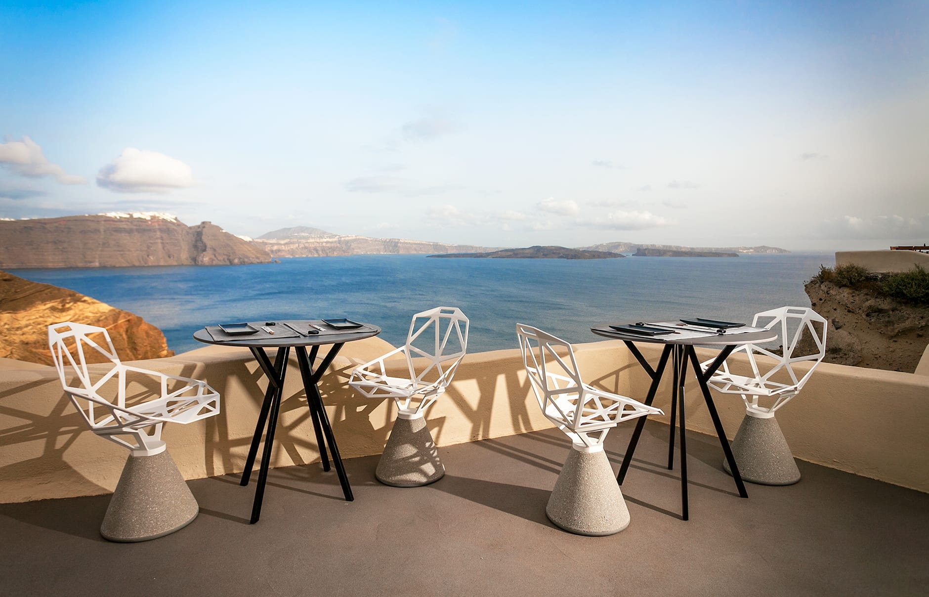 ASEA Restaurant dinner with a view. Mystique, Santorini. © Mystique Resort Santorini, Greece