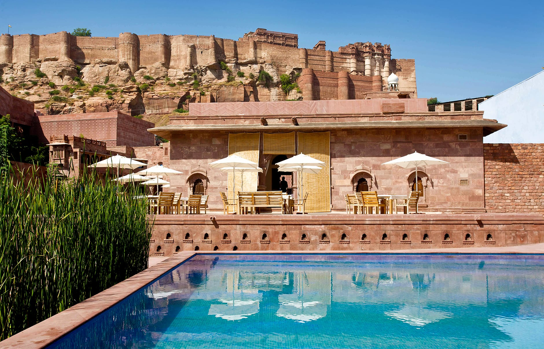 Baradari Restaurant outdoor. Raas Jodhpur, India. © Rass