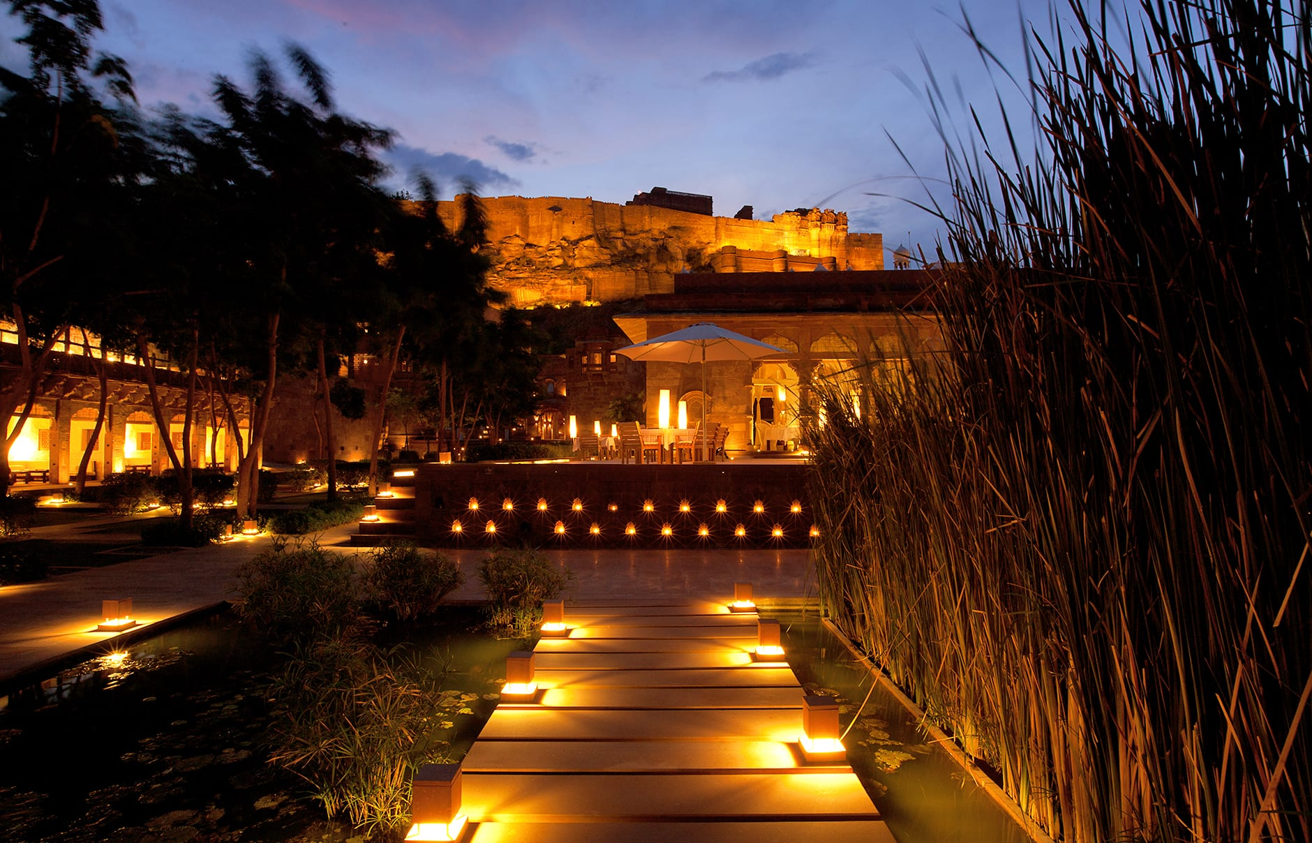 Raas evening view. Raas Jodhpur, India. Luxury Hotel Review by TravelPlusStyle. Photo © Rass