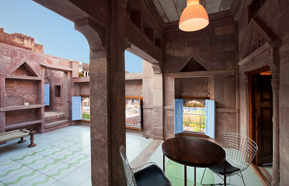 Heritage Suite courtyard. Raas Jodhpur, India. Luxury Hotel Review by TravelPlusStyle. Photo © Rass
